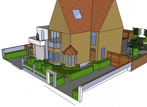 Voortuin met extra parking groent a c bvba for 3d tuinarchitect