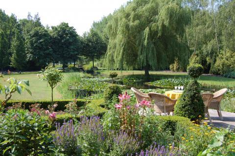 landschappelijke tuin met vijver