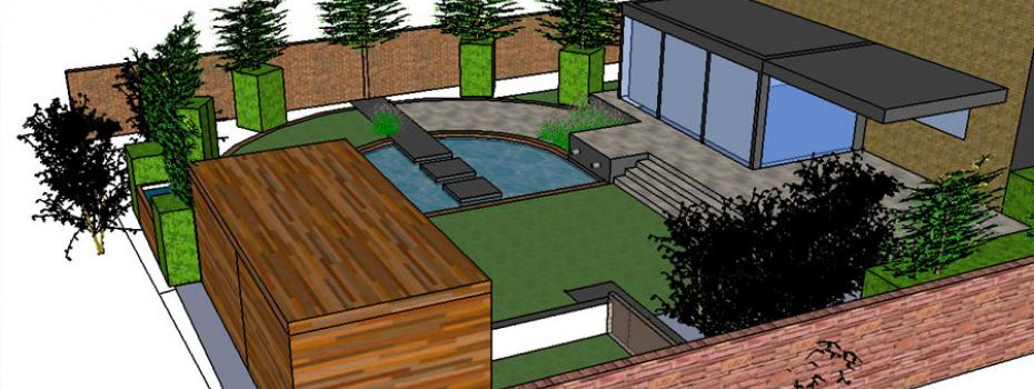Een 3d voorstelling van een tuinontwerp