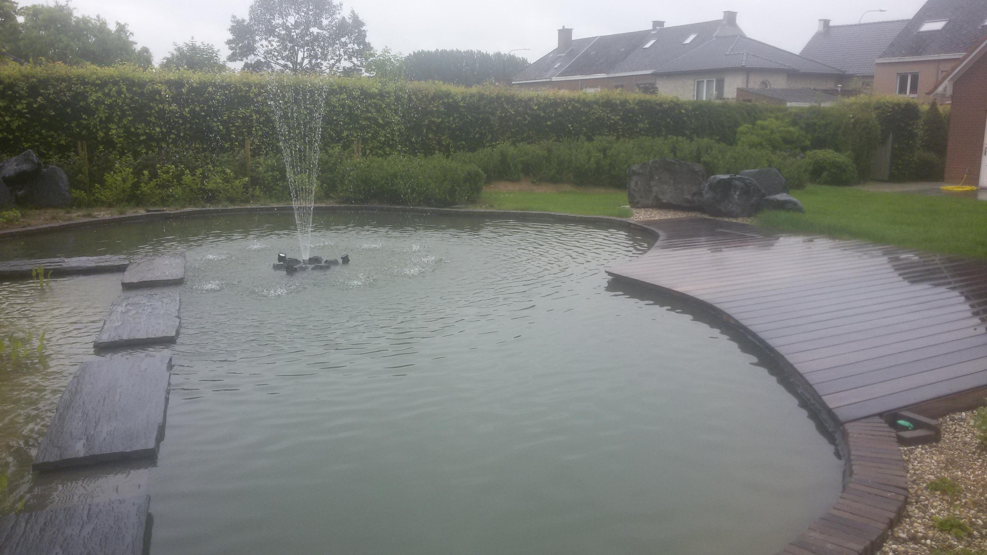 zwemvijver, vijver fontein, tuinaanleg houten terras